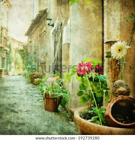 charming courtyards, retro styled picture - stock photo