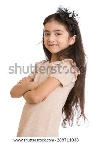 Charming dark-haired little girl folded her hands in front of him, close-up-Isolated on white background - stock photo