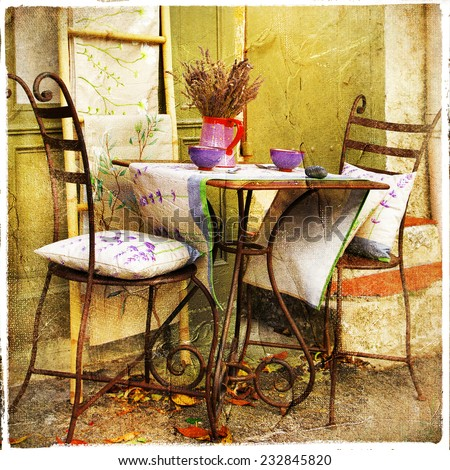charming decorated  streets of Provence - stock photo