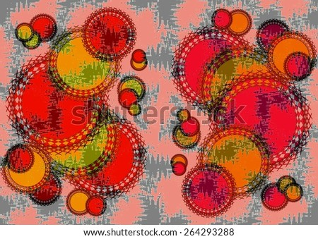 Charming distinctive    modern abstract design with geometric   motifs in two picture format superimposed  on  a textured  grungy background ideal for classic wallpapers and backgrounds. - stock photo