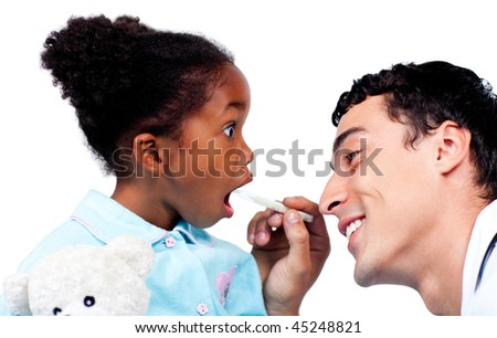 Charming doctor taking little girl's temperature isolated on a white background - stock photo