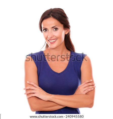 Charming female smiling and looking happy in white background - stock photo