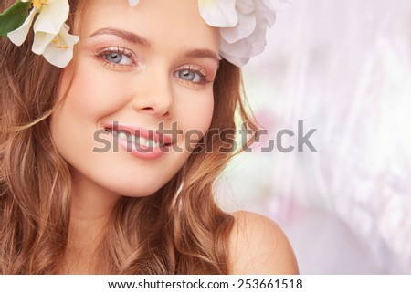 Charming girl expressing happiness - stock photo