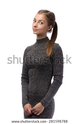 Charming girl in gray dress in the studio isolate on white. - stock photo