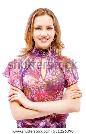 Charming girl in motley dress smiles, isolated on white background.