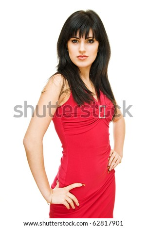 charming girl in red dress on white background - stock photo