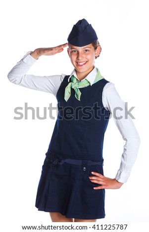 Charming Girl Stewardess Dressed In Blue Uniform On White Background