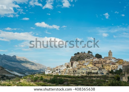 Charming hilltop old town Polop, Costa Blanca, Spain - stock photo