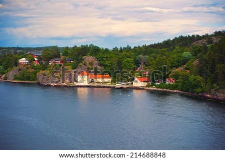 Charming island near Stockholm, Sweden - stock photo
