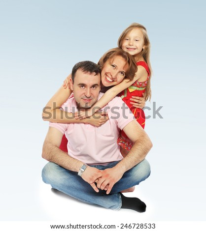 Charming little girl hugging their parents.concept childhood education and child development.Isolated on white background