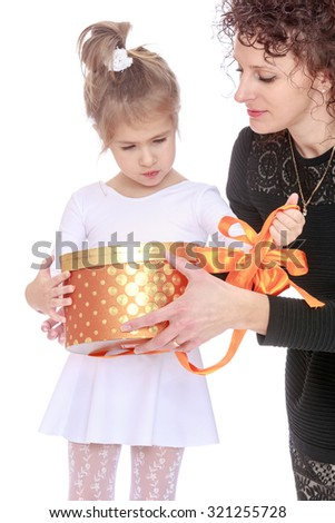 Charming little girls birthday today. Her happy mom gives her daughter a gift. The plan-Isolated on white background - stock photo