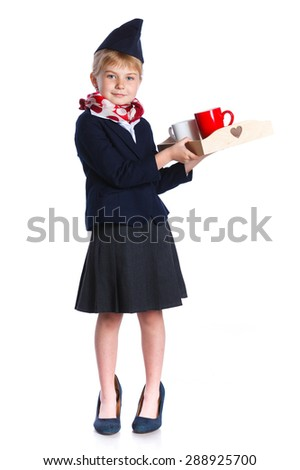 Charming Little Stewardess Dressed In Blue Uniform with tray with cups. Isolated On White Background