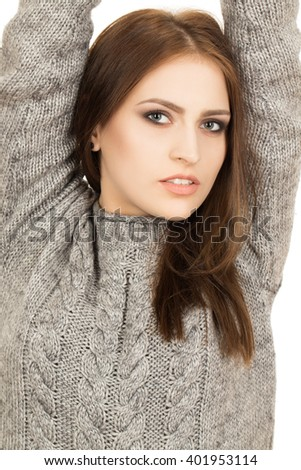 Charming look.  Vertical portrait of a cute hipster female looking to the camera. - stock photo