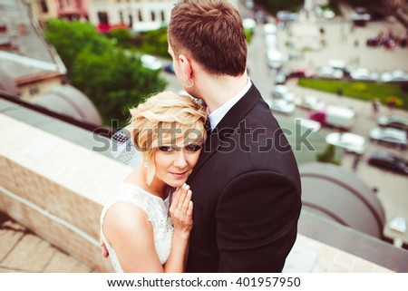 charming married  couple feel love for each other - stock photo