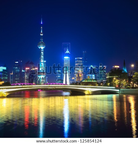 charming night in shanghai,scene from suzhou river. - stock photo