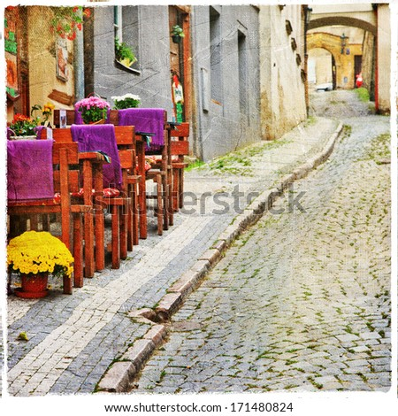 charming old  streets - stock photo