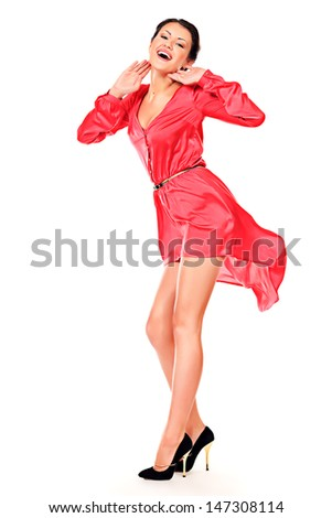 Charming pretty woman posing in a beautiful summer dress. Isolated over white. - stock photo