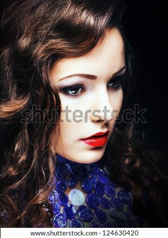 Charming Romantic Brunette Woman Closeup Portrait - stock photo