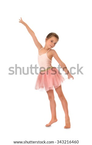 Charming slender little girl in a pink ballerina costume - Isolated on white background - stock photo
