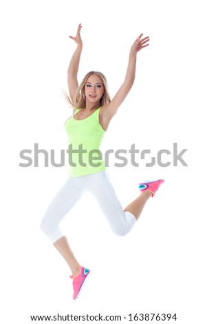 Charming slim blonde jumps, isolated on white - stock photo
