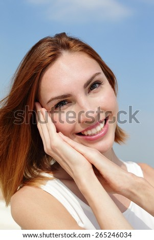 Charming smile happy woman. She have health teeth and skin, great for dental care and skin care concept. caucasian beauty - stock photo