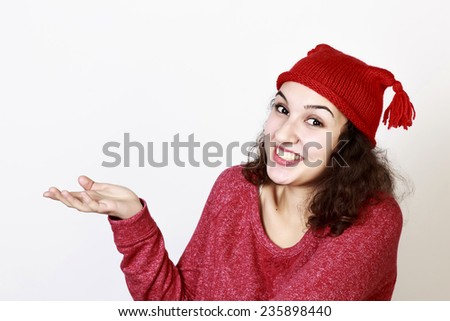Charming smiling woman promoting, isolated - stock photo