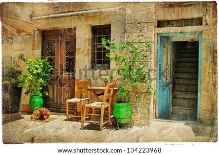 charming streets of greek islands. Crete - stock photo