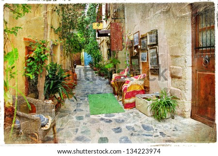charming streets of greek islands. Crete, retro styled picture - stock photo