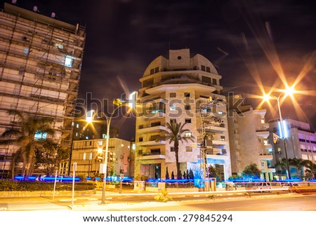 charming summer night Israel - stock photo