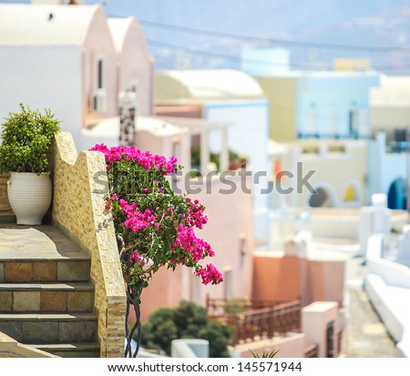 Charming view of small village in Santorini, Greece - stock photo