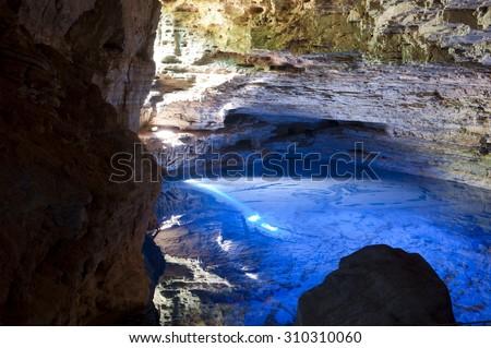 Charming well, Cave in Chapada Diamantina, Brazil - stock photo