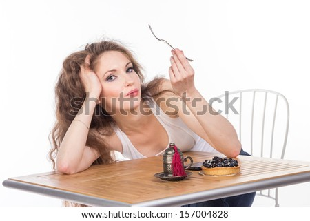 Charming woman in a restaurant, isolated - stock photo