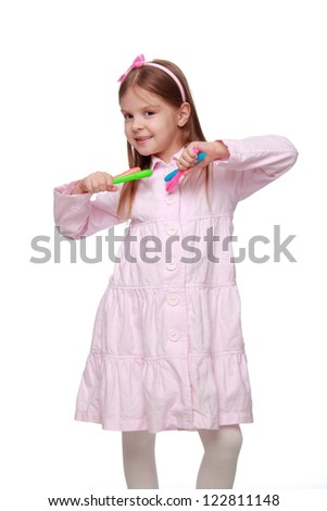 Charming young girl on Education theme