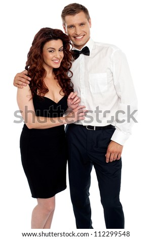 Charming young love couple hugging each other. All on white background - stock photo