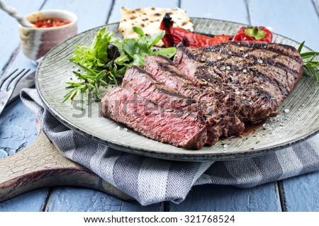 Charolais Steak on Plate - stock photo