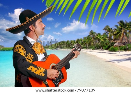 Charro mexican Mariachi playing guitar in tropical Mexico beach [Photo Illustration] - stock photo