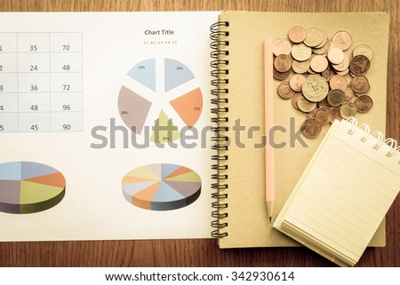 chart and money on wooden table with vintage style - stock photo