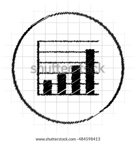 Chart bars icon. Internet button on white background.
