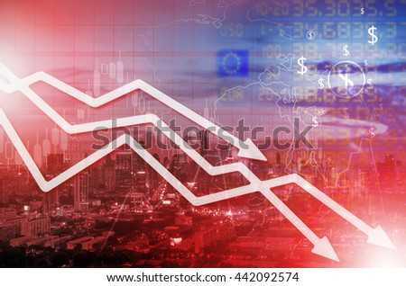 Chart businesses falling behind on the cityscape background. - stock photo