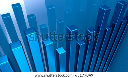 Chart from blue metal columns - stock photo