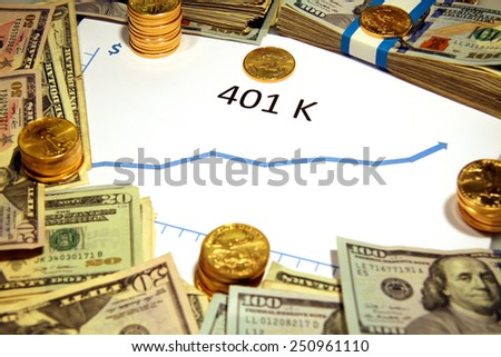 chart graph of 401 k retirement going up with money and gold - stock photo