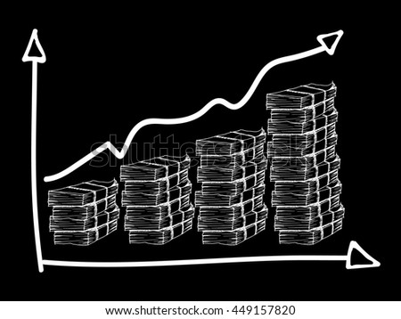 Chart, graph, table with money on black background. Free hand drawn.illustration. - stock photo