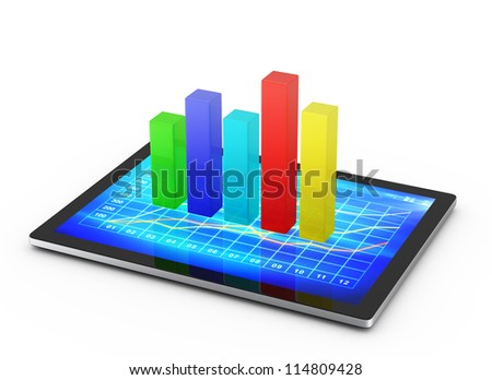 chart growth in tablet on a white background