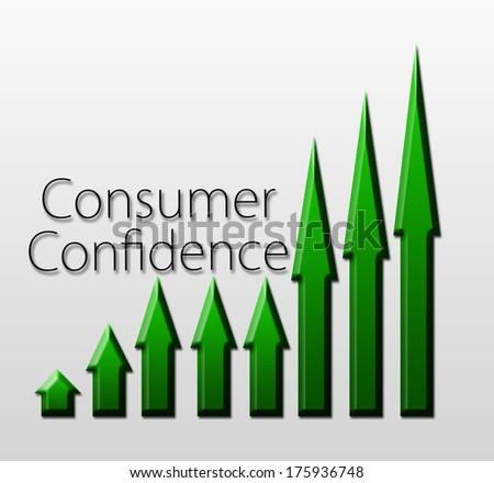 Chart illustrating Consumer Confidence growth, macroeconomic indicator concept - stock photo