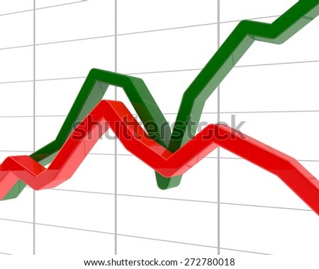 chart of development and decrease of the activity in work of the company or market (red and green schedules) - stock photo