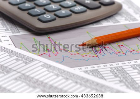 chart of financial budget calculation and stock market