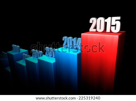 Chart of growth year after year on black background. 2015 as an end. 3d render - stock photo