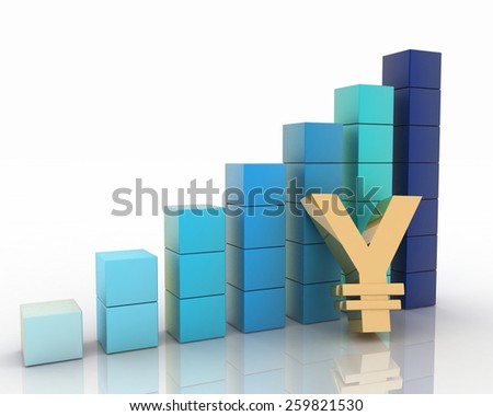 Chart of height and sign of yen. 3d illustration on white background. - stock photo