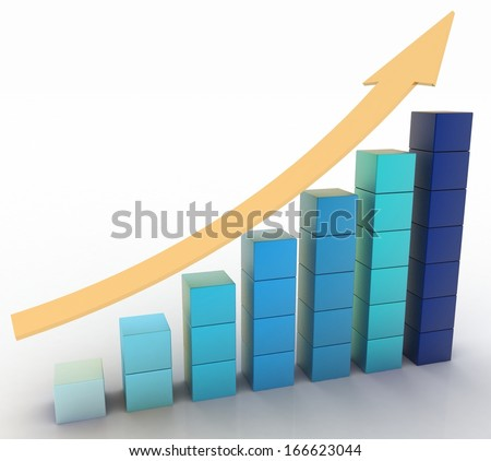 Chart of height with a arrow. 3d illustration on white background.  - stock photo