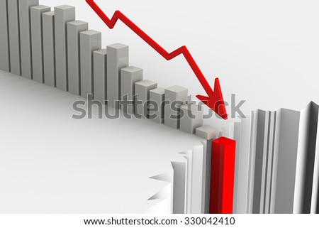 Chart of rapid fall. Financial crisis concept. The collapse of economic indicators. The three-dimensional illustration - stock photo